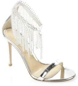 Gianvito Rossi Silver Crystal Ankle Sandals