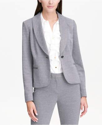 Calvin Klein Mini-Houndstooth Shawl-Collar Blazer