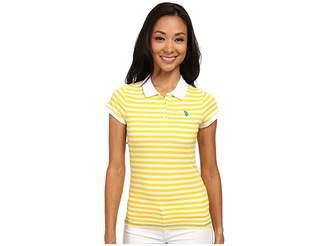 U.S. Polo Assn. Tonal Stripe Slub V-Neck T-Shirt Women's Short Sleeve Pullover