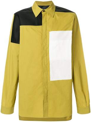 Rick Owens panelled colour block shirt