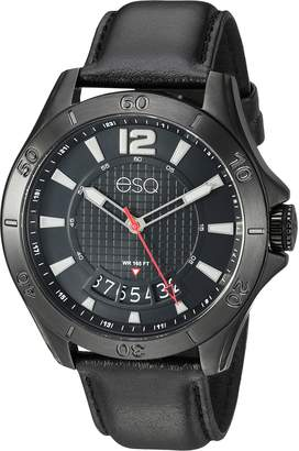 ESQ by Movado ESQ Men's 'Sport' Quartz Stainless Steel and Leather Casual Watch, Color (Model: 37ESQE18001A)