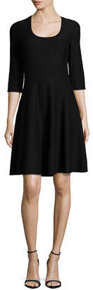 Nic+Zoe Petite Twirl Half-Sleeve Knit Fit-and-Flare Dress