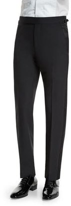 TOM FORD O'Connor Base Tuxedo Trousers with Satin Trim, Black $1,250 thestylecure.com