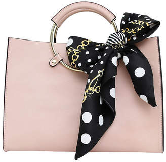 Belle & Bloom Palm Beach Pink Leather Satchel With Scarf