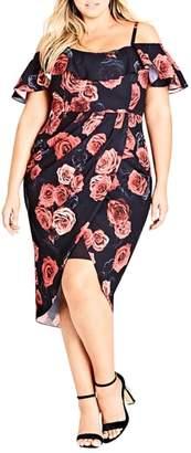 City Chic Salsa Rose Cold Shoulder Dress