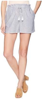 1 STATE 1.STATE Paperbag Waist Linen Stripe Shorts Women's Shorts