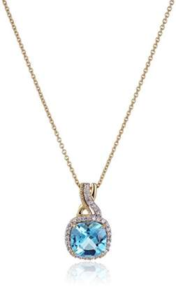 18k Yellow Plated Sterling Silver Swiss Topaz Cushion Shape and Created White Sapphire Fashion Pendant Necklace