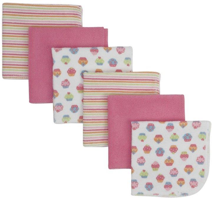 Gerber 6PK Washcloth - Multicolor-One Size-Pink