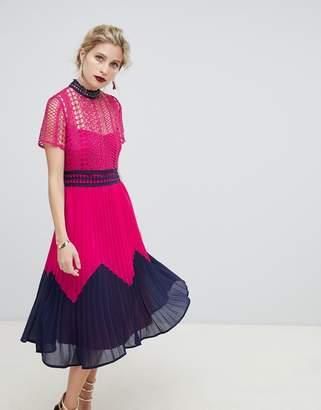 Liquorish contrast lace midi dress with pleated skirt