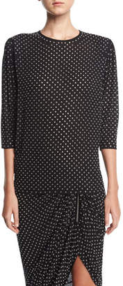 Michael Kors Georgette Blouse with Grommets, Black