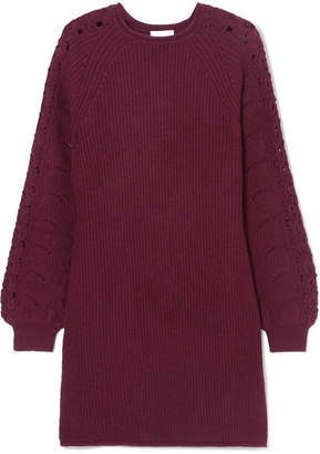 See by Chloe Ribbed And Crochet-knit Mini Dress - Burgundy