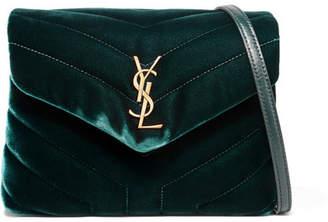 Saint Laurent Loulou Quilted Velvet Shoulder Bag - Emerald