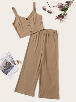 SheinShein Button Front Rib-knit Tank Top & Capris Pants Set