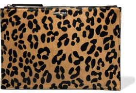 McQ Alexander McQueen Leopard-Print Calf Hair And Leather Clutch $495 thestylecure.com