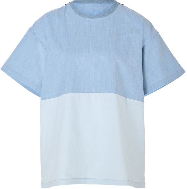 Victoria Beckham Denim Oversized Cotton Top in Chambray