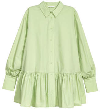 H&M Blouse with Flounced Hem - Green