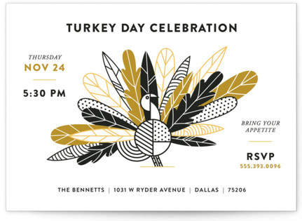 Classy Turkey Holiday Party Invitations