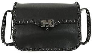 Valentino Rockstud Rolling Noir Shoulder Bag, Black