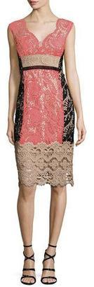 Nanette Lepore Cap-Sleeve Lace Colorblock Cocktail Dress $598 thestylecure.com