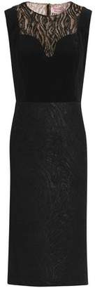 Lanvin Metallic Lace And Velvet-Paneled Wool-Blend Jacquard Dress