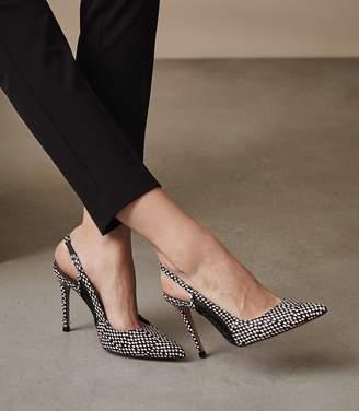Reiss Clara - Sling-back Heels in Black/Pink