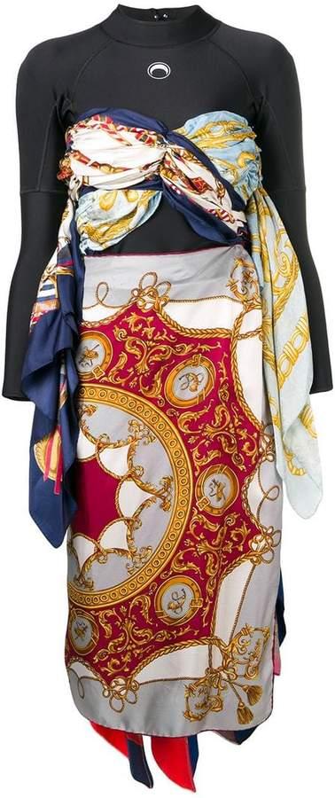 Marine Serre long-sleeve draped dress