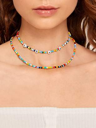 Shein Colorful Beaded Necklace 2pcs