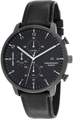 Issey Miyake Men's 'C' Quartz Stainless Steel and Leather Casual Watch