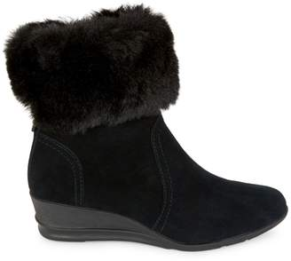 Anne Klein Sport Conscious Suede & Faux Fur-Trim Wedge Booties
