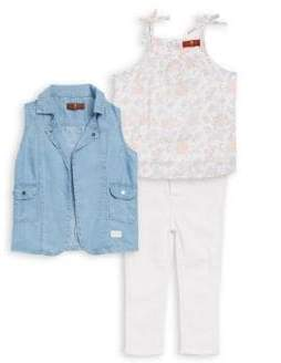 7 For All Mankind Baby's 3-Piece Denim Vest, Cotton Top and Stretch Pants Set