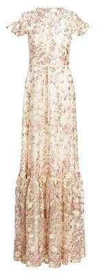 ML Monique Lhuillier Embroidered Floral Overlay Gown