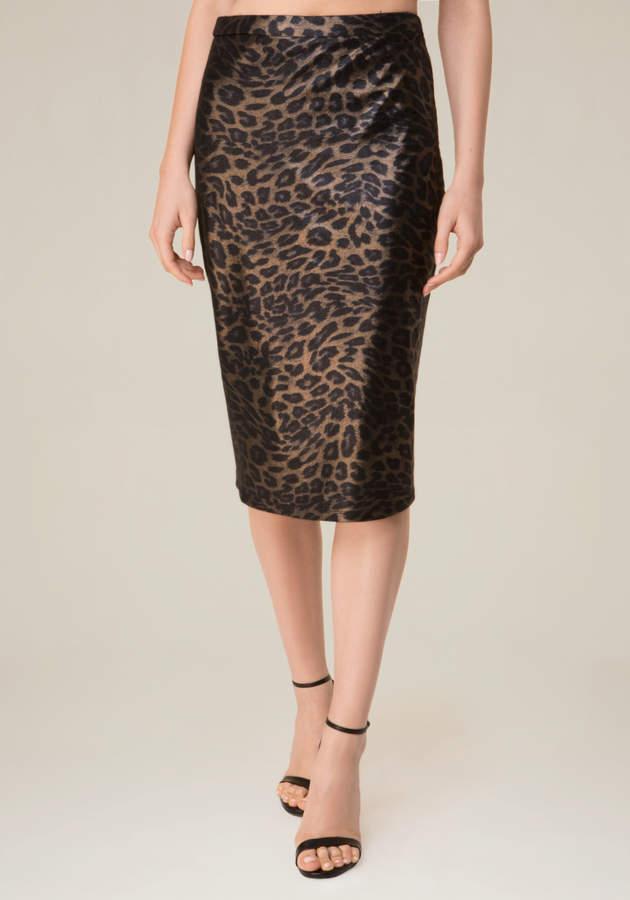 Leopard Mesh Midi Skirt