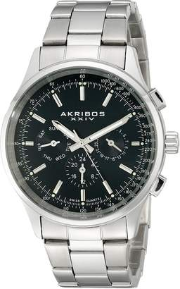 Akribos XXIV Men's AK788SSB Analog Display Swiss Quartz Silver Watch