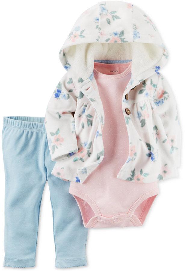 Carter's 3-Pc. Floral-Print Hoodie, Bodysuit & Leggings Set, Baby Girls (0-24 months)