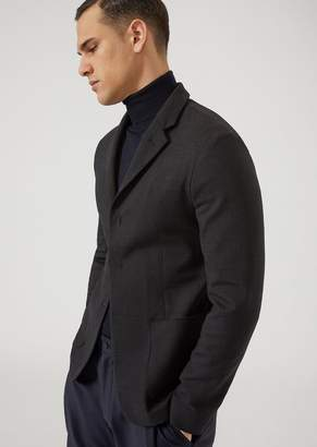 Emporio Armani Single-Breasted Double-Layered Stretch Fabric Yarn-Dyed Jacket
