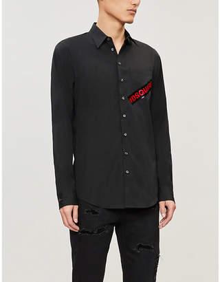 DSQUARED2 Logo-taped regular-fit cotton shirt
