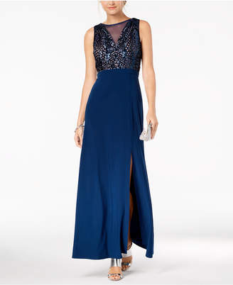 Night Way Nightway Sequined A-Line Gown