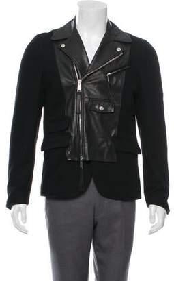 DSQUARED2 Wool & Leather Moto Sport Coat