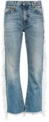 R 13 fringed straight-leg jeans