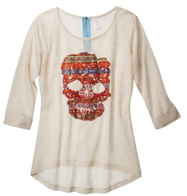 Junior's Skull Knit Top Ivory
