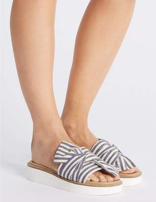 Marks and Spencer Striped Woven Knot Mule Sandals