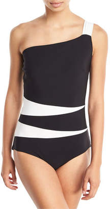 Chiara Boni Calipso One-Shoulder Colorblock One-Piece Swimsuit
