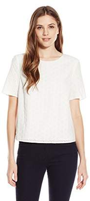 Lark & Ro Women's Short Sleeve Eyelet Top