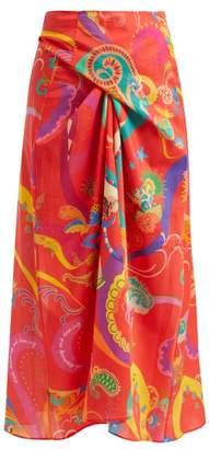 Etro Abstract Print Cotton Wrap Midi Skirt - Womens - Red