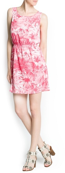 MANGO Palms print dress