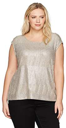Calvin Klein Women's Plus Size Sleeveless Variegated Top with Buttons