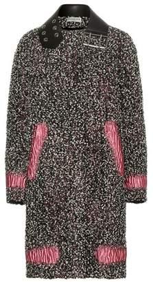Balenciaga Leather-trimmed wool-blend bouclé coat