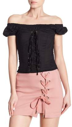 ALPHA & OMEGA Betty Off-the-Shoulder 2-Piece Corset Blouse