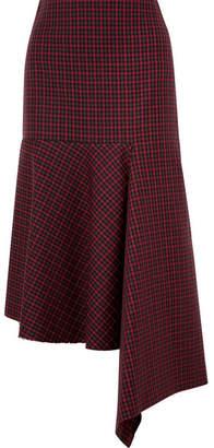 Balenciaga Asymmetric Checked Wool Skirt - Red