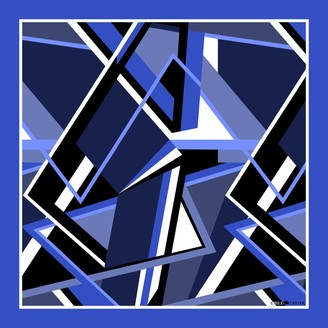 Emily Carter The Abstract Pocket Square Royal Blue